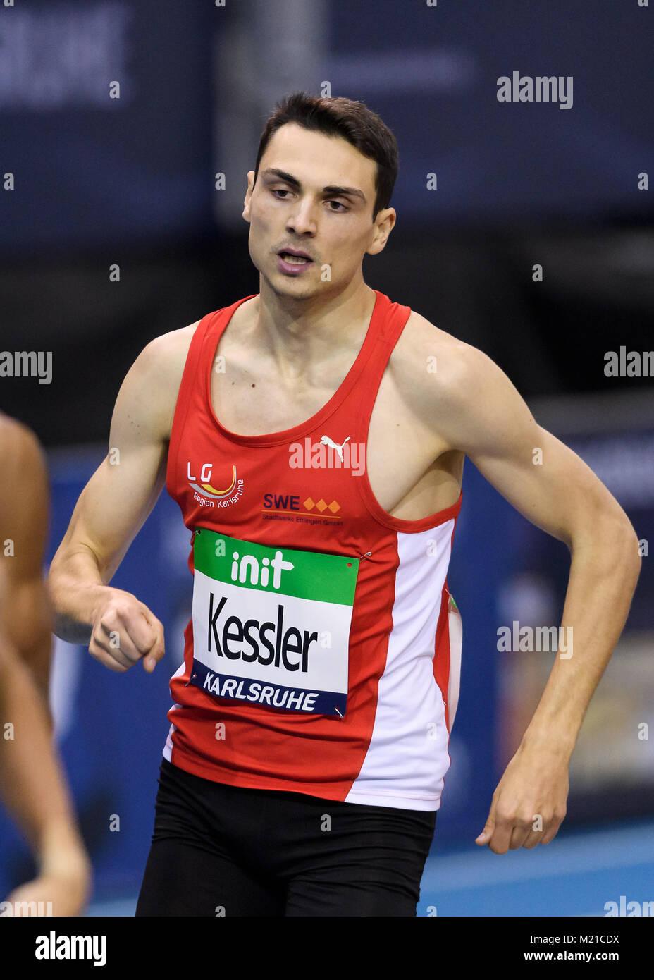 Karlsruhe, Deutschland. 03rd Feb, 2018. 800m Maenner: Christoph Kessler (LG Region Karlsruhe). GES/ Leichtathletik/ - Stock Image
