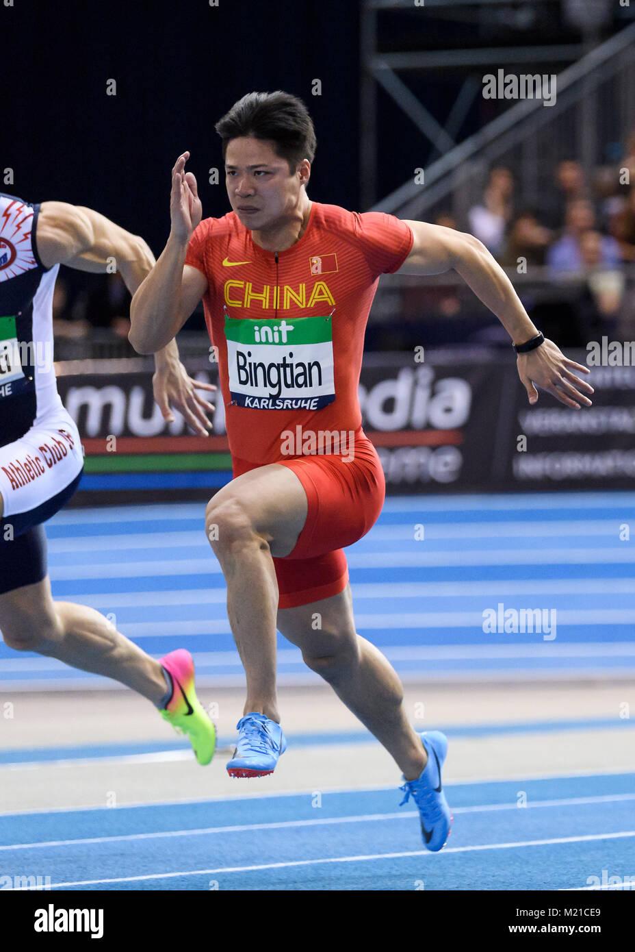 Karlsruhe, Deutschland. 03rd Feb, 2018. 60m Sprint Maenner: Sieger/ Gewinner Su Bingtian (CHN). GES/ Leichtathletik/ - Stock Image