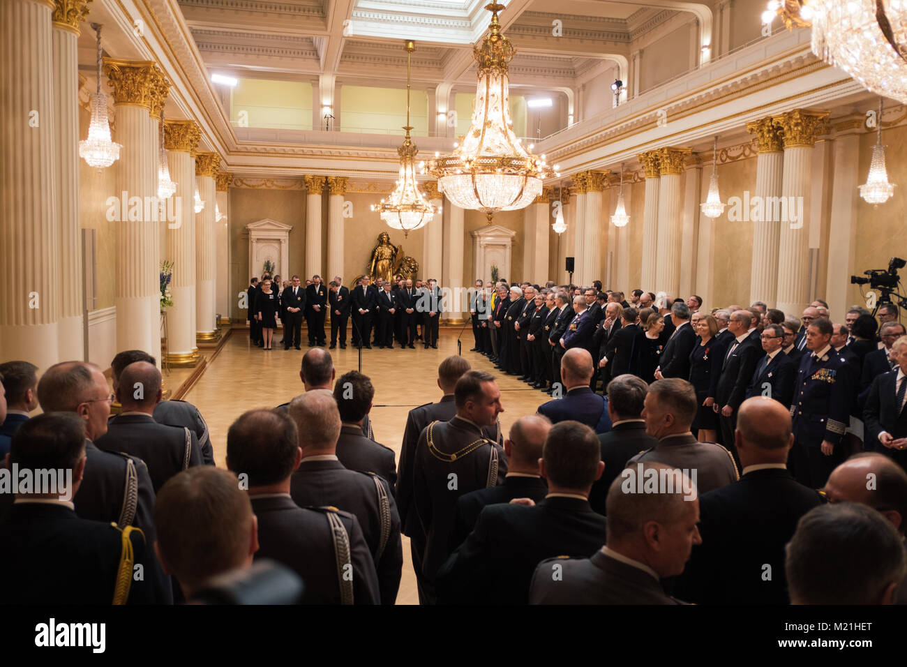 Helsinki, Uusima, Finland. 1st Feb, 2018. Finnish personalities waiting in the Presidential castle for the speech - Stock Image