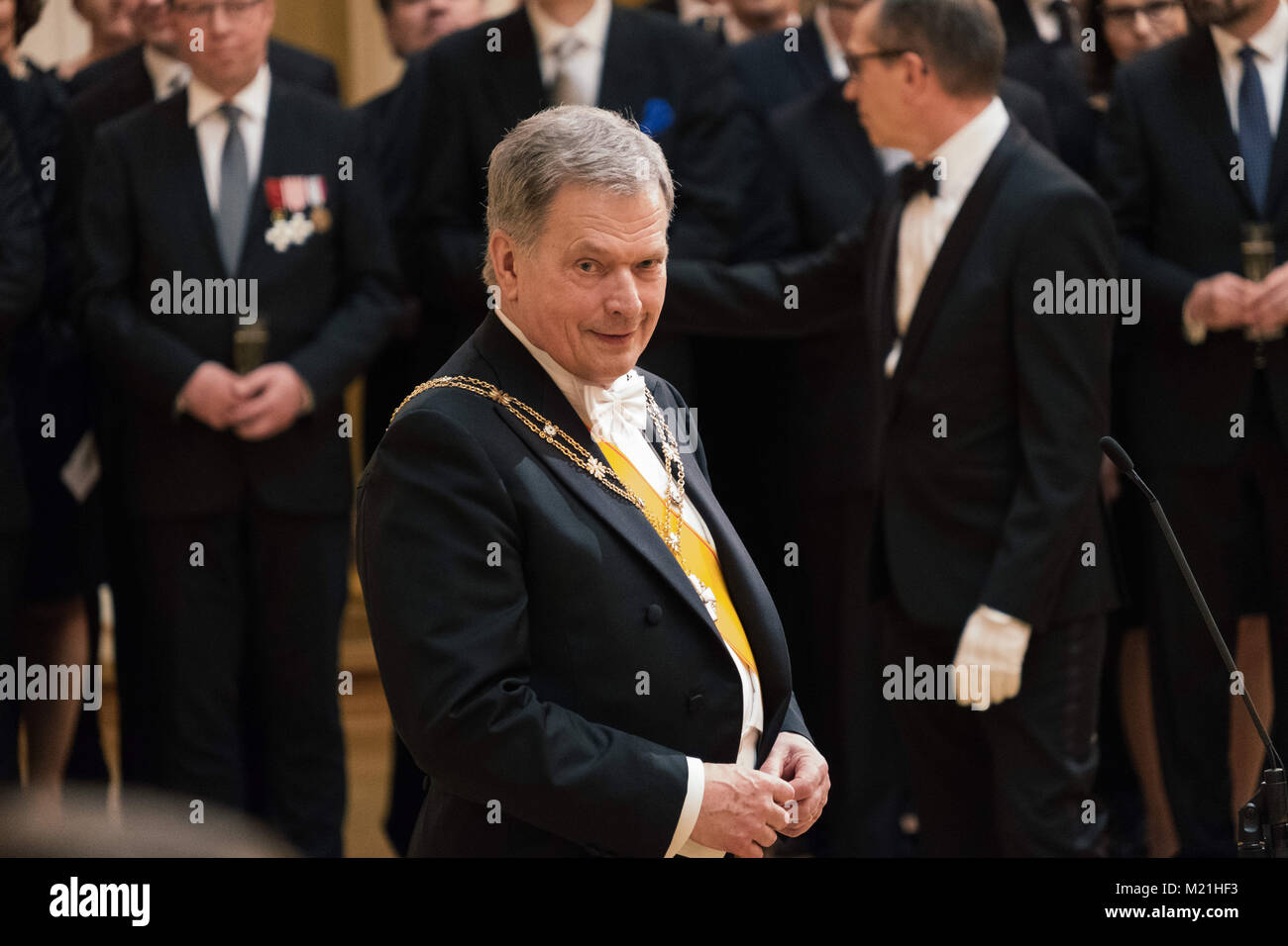 Helsinki, Uusima, Finland. 1st Feb, 2018. Sauli Niinisto (C) reconfirmed President of the Republic of Finland during - Stock Image