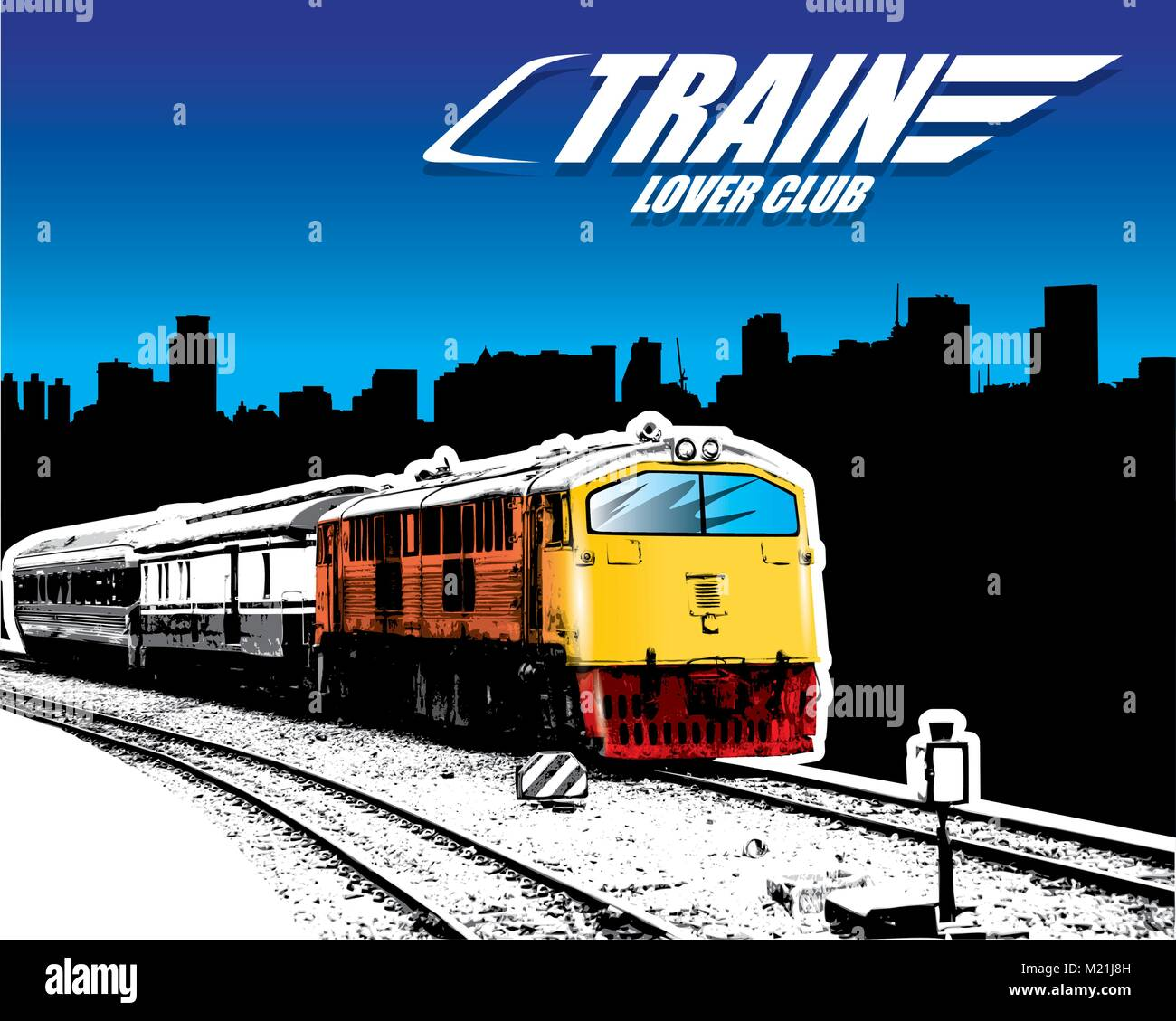 old train on a rail road in the city. Vector illustration - Stock Vector