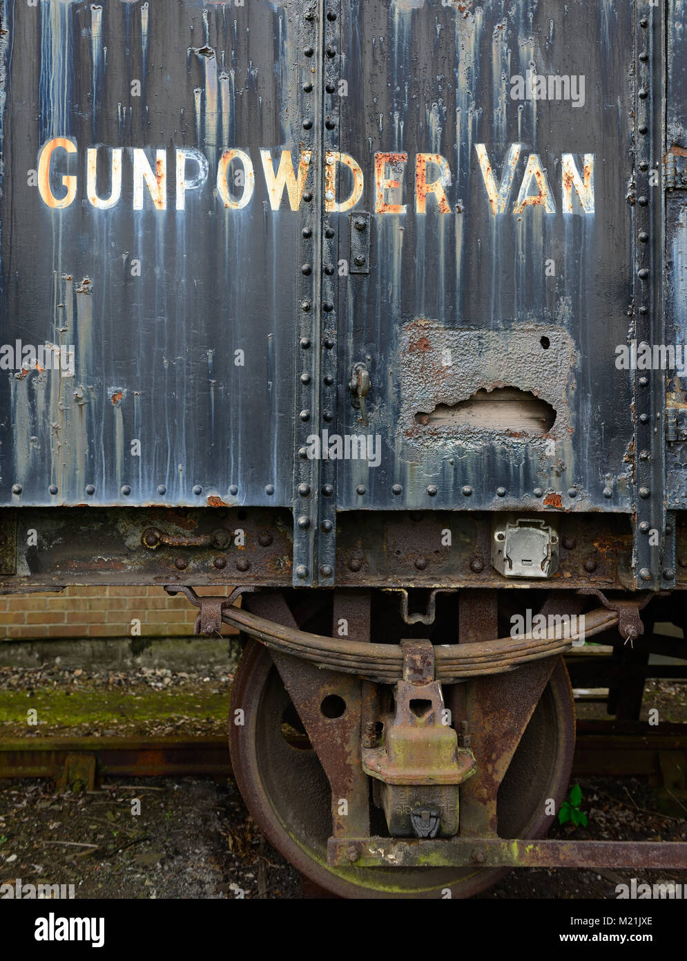 A rusty gunpowder van in need of restoration at the Didcot Railway Centre. - Stock Image