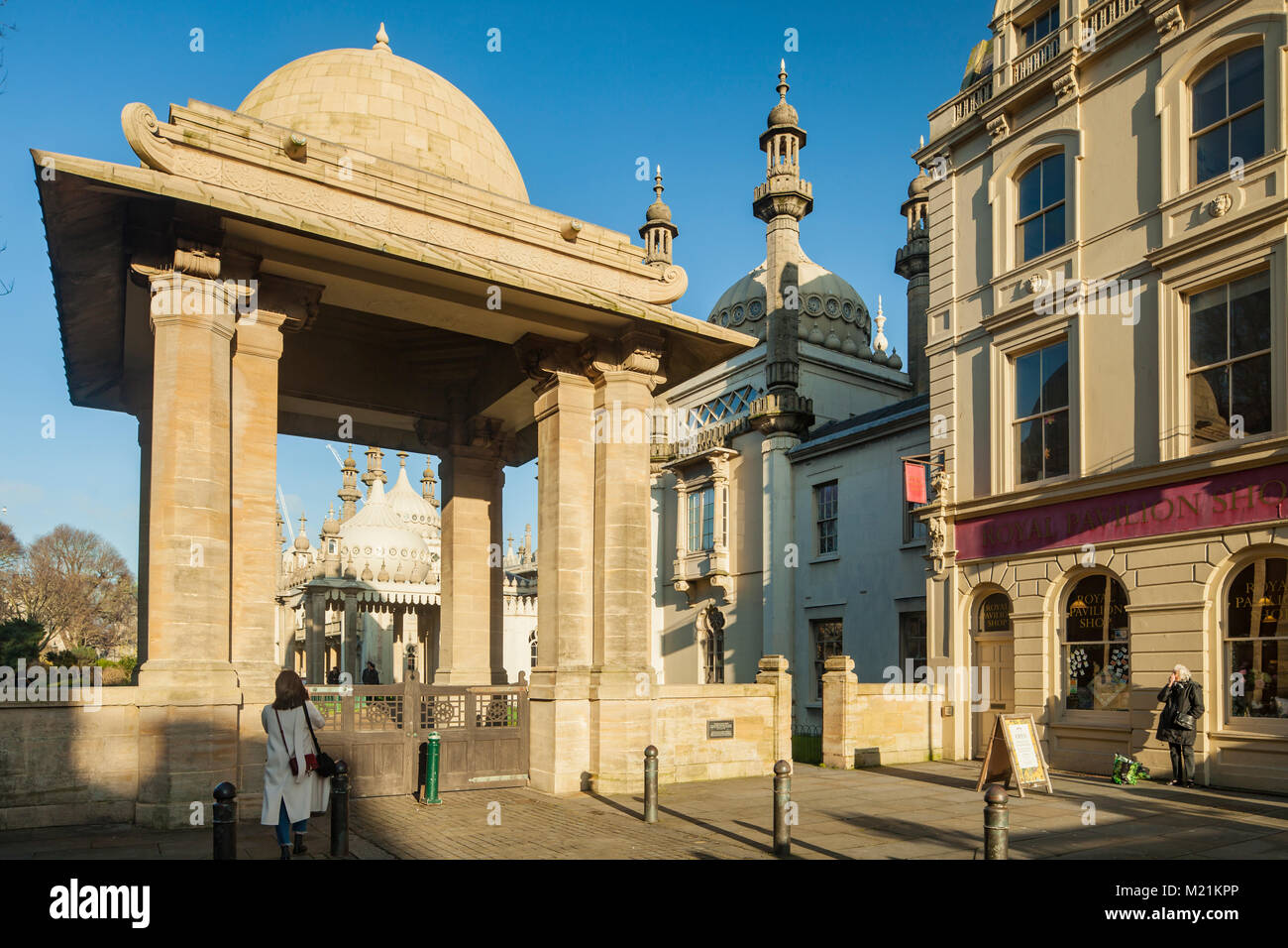 The gate at Royal Pavilion in Brighton, East Sussex, England. - Stock Image