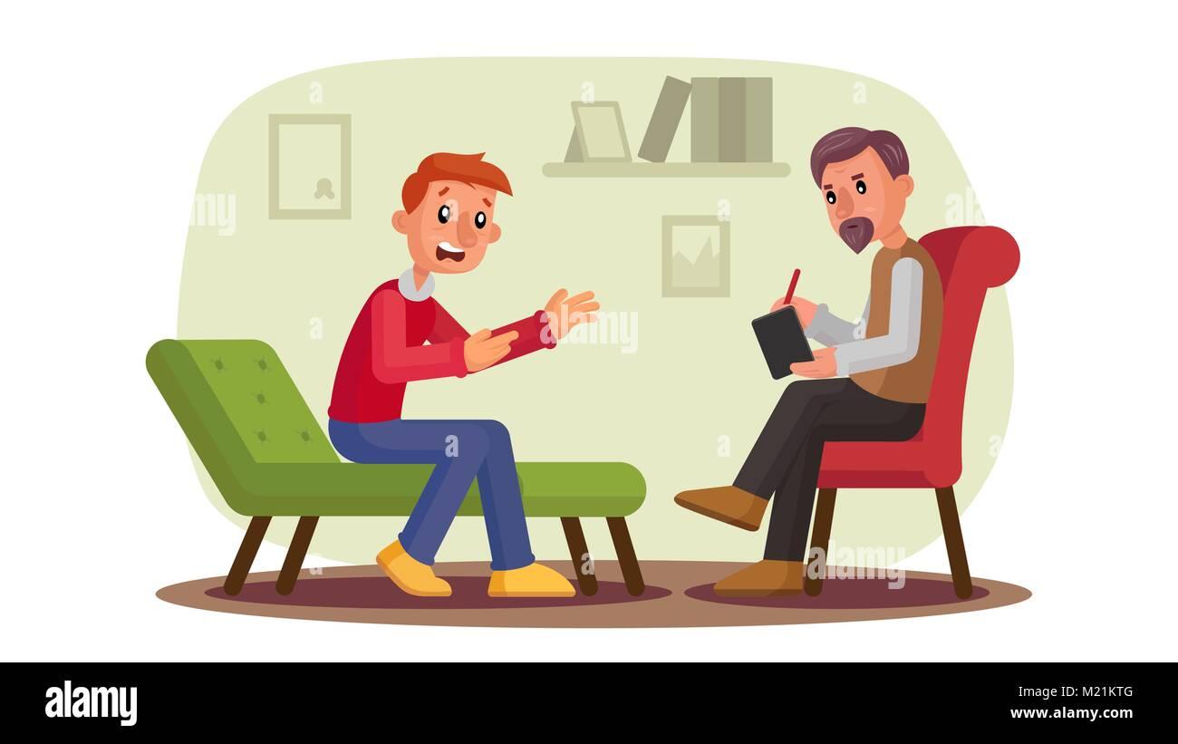 Psychologist Vector. Man Patient Talking Depression, Problems, Alcohol, Drug Addiction. Professional Psychotherapist - Stock Vector
