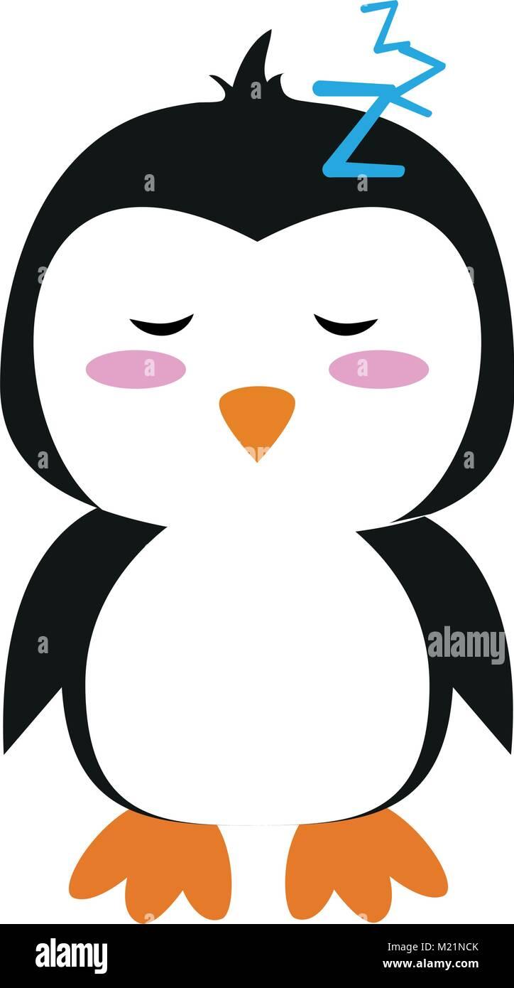 Cute penguin cartoon sleeping - Stock Image