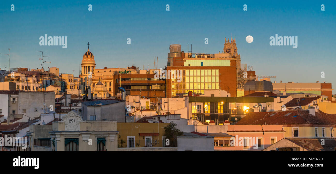 Madrid, Spain - January 31, 2018 : Super blue blood moon incredibly rare phenomenon panoramic view over downtown - Stock Image
