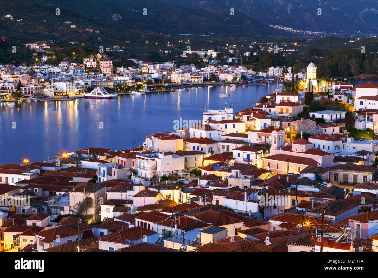 View of Poros island and Galatas village in Peloponnese peninsula in Greece. - Stock Image