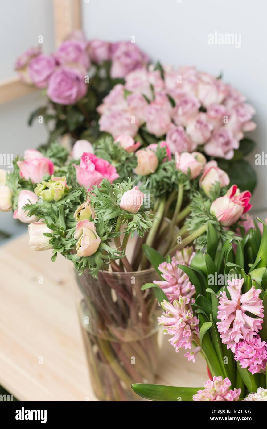 Flower shop concept different varieties fresh spring flowers in flower shop concept different varieties fresh spring flowers in refrigerator room for flowers bouquets on shelf florist business mightylinksfo