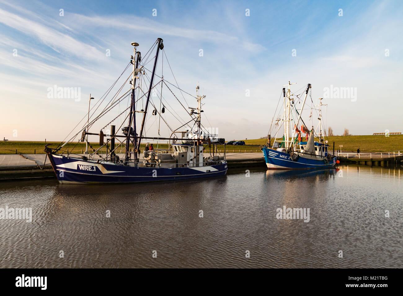 Einige Fischerboote in Wremen an der Nordseeküste. Stock Photo