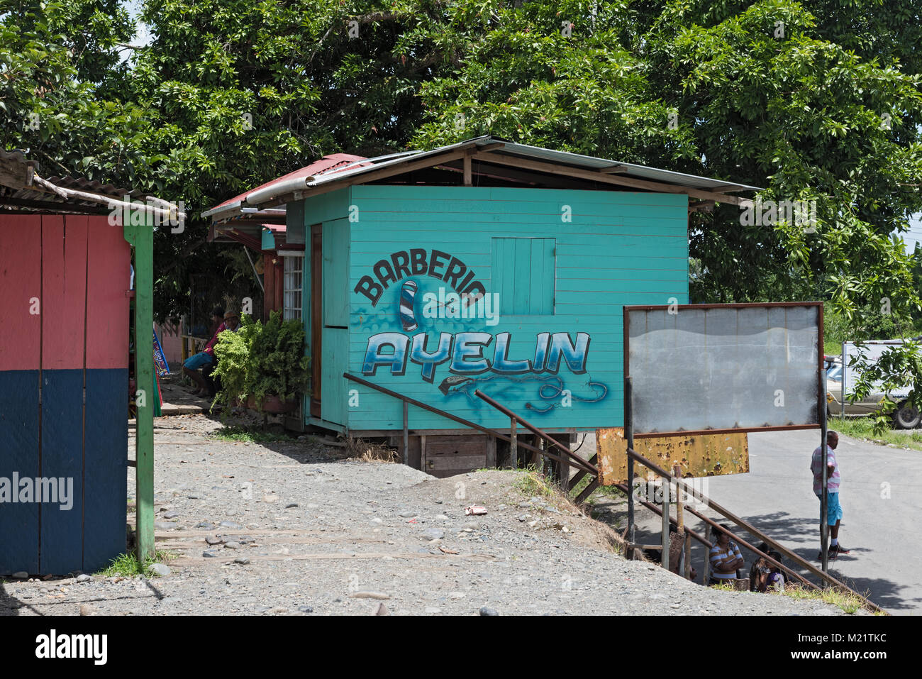 Barber shop in Guabito (Panama) on the border with Costa Rica Stock Photo