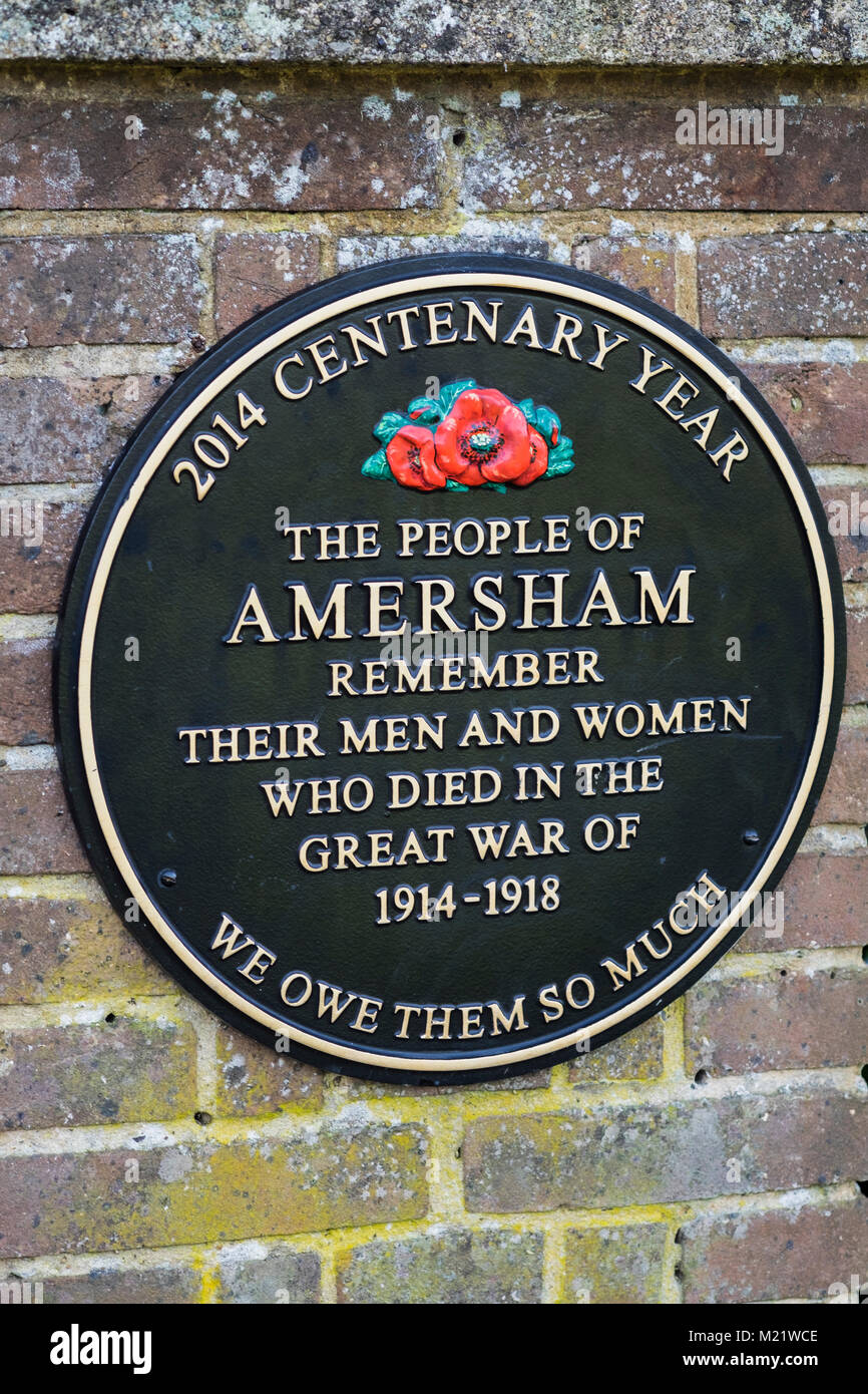 Memorial plaque for the centenary of the Great War, Amersham, Buckinghamshire, England, U.K. - Stock Image