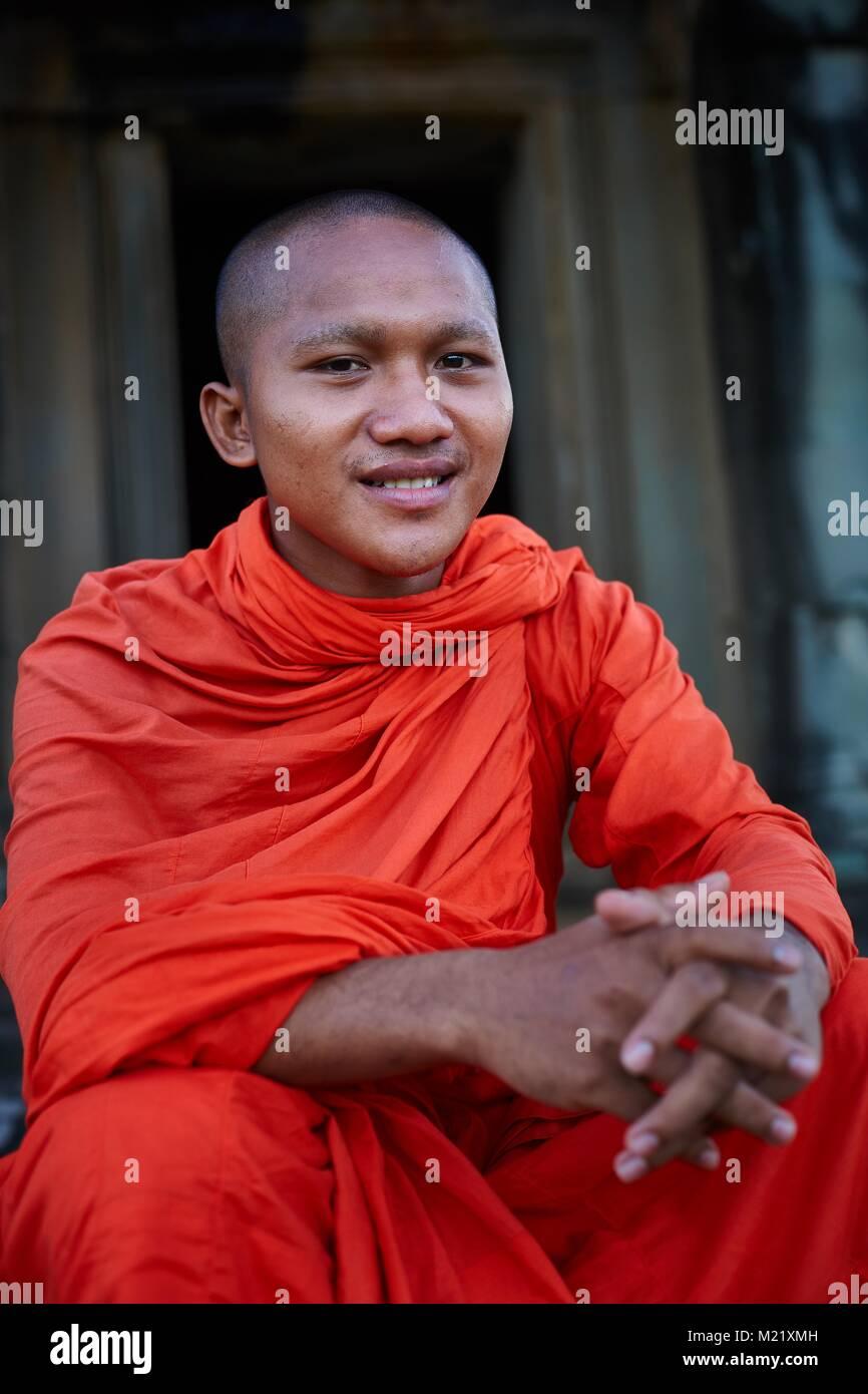 Cambodian Monk, Angkor, Cambodia - Stock Image