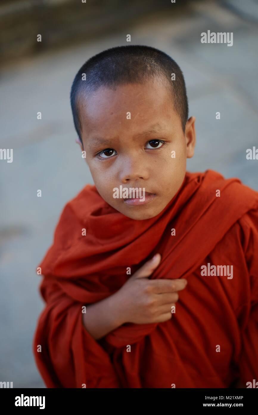Young monk, Angkor Wat, Angkor, Cambodia - Stock Image