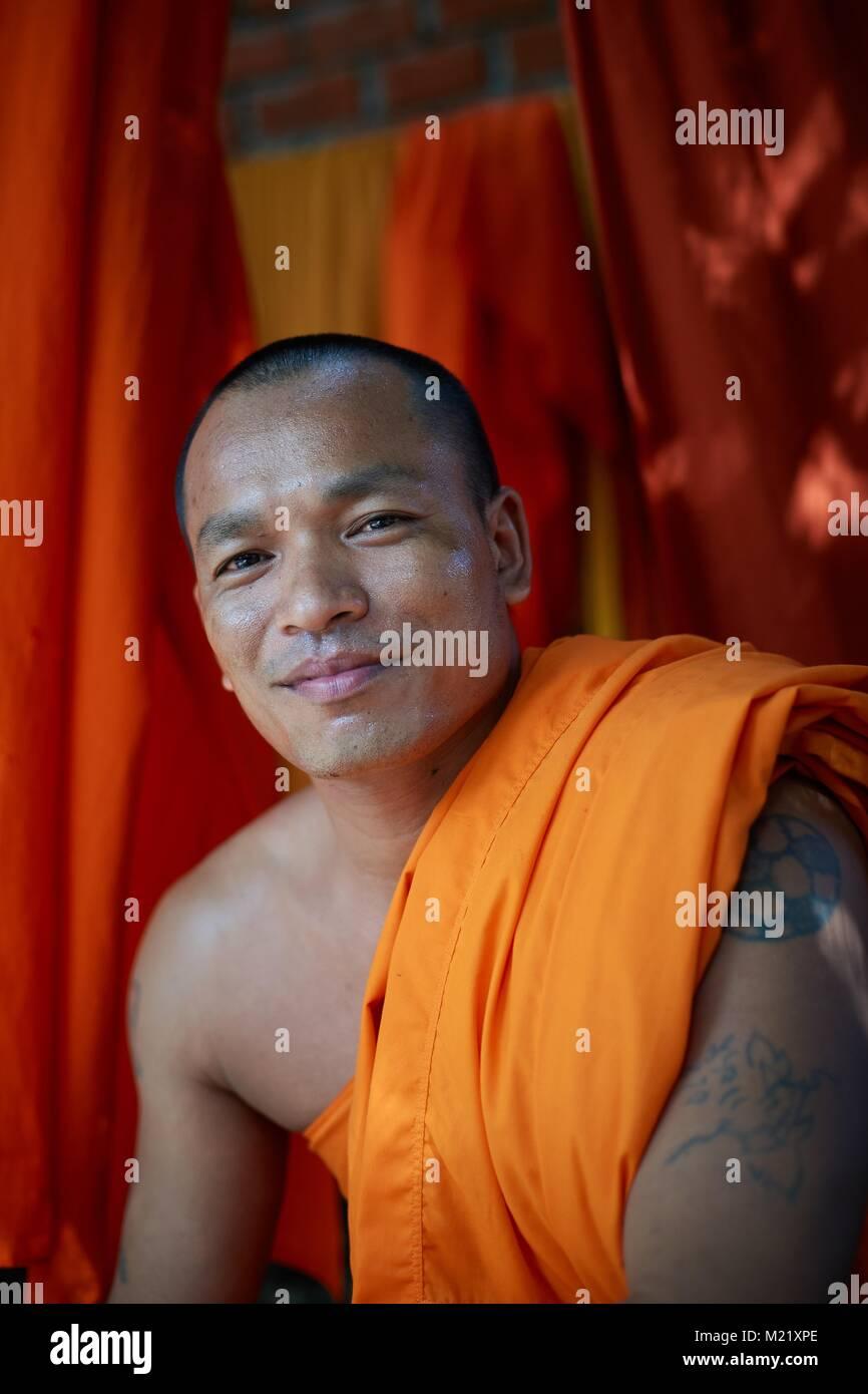 Buddhist Monk, Battambang, Cambodia - Stock Image