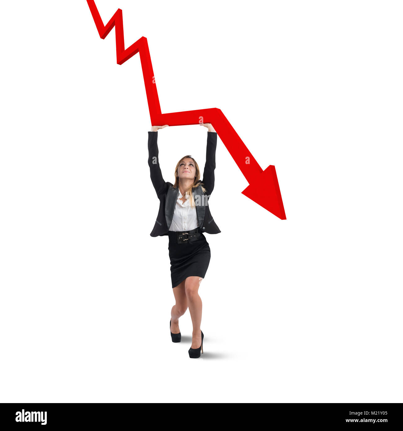 Businesswoman helps statistics - Stock Image