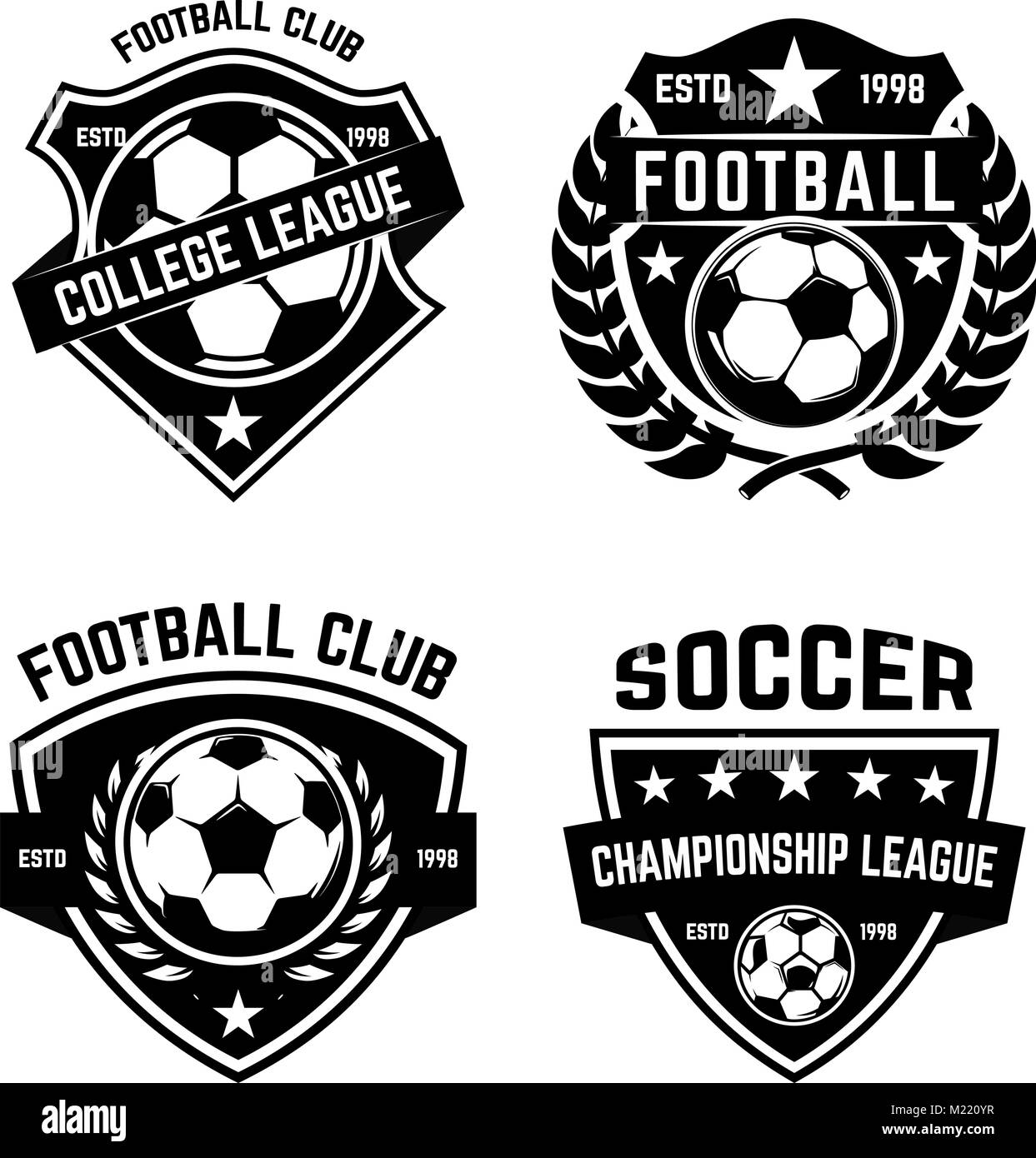 Set Of Soccer, Football Emblems. Design Element For Logo, Label, Emblem,  Sign. Vector Illustration