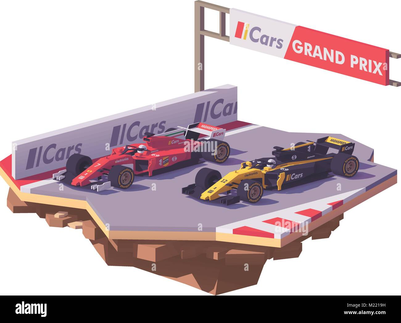 Vector low poly formula race - Stock Vector