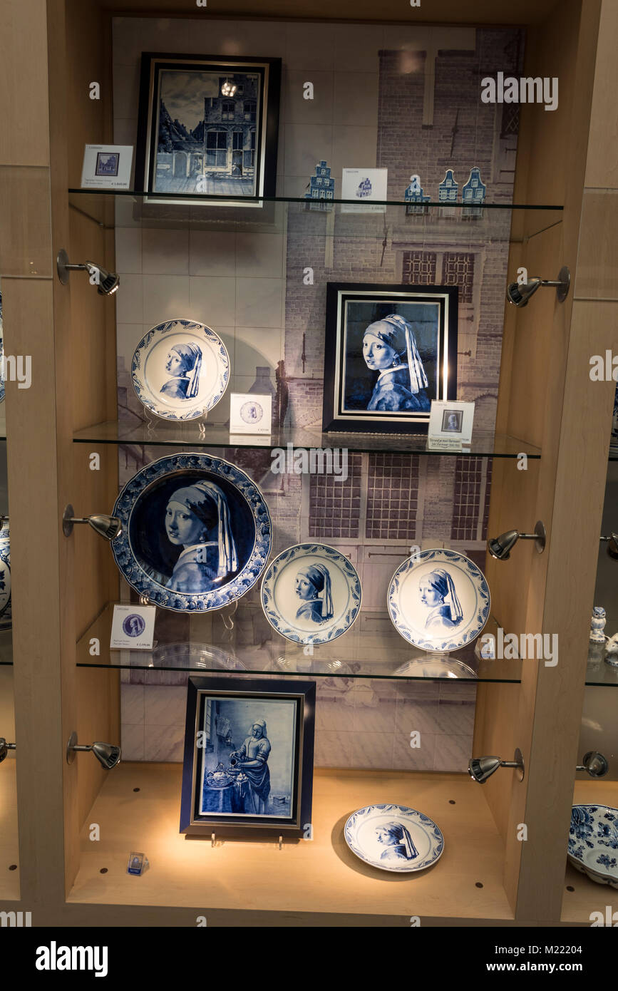A selection of Delft born 17th-century painter Johannes Vermeer works, hand-painted by Royal Delft's own skilled - Stock Image