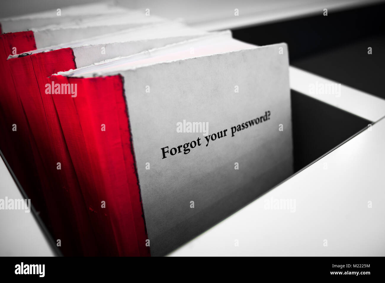 Forgot your password. White book with red binding and phrase Forgot Your Password on the cover. Technology concept. - Stock Image