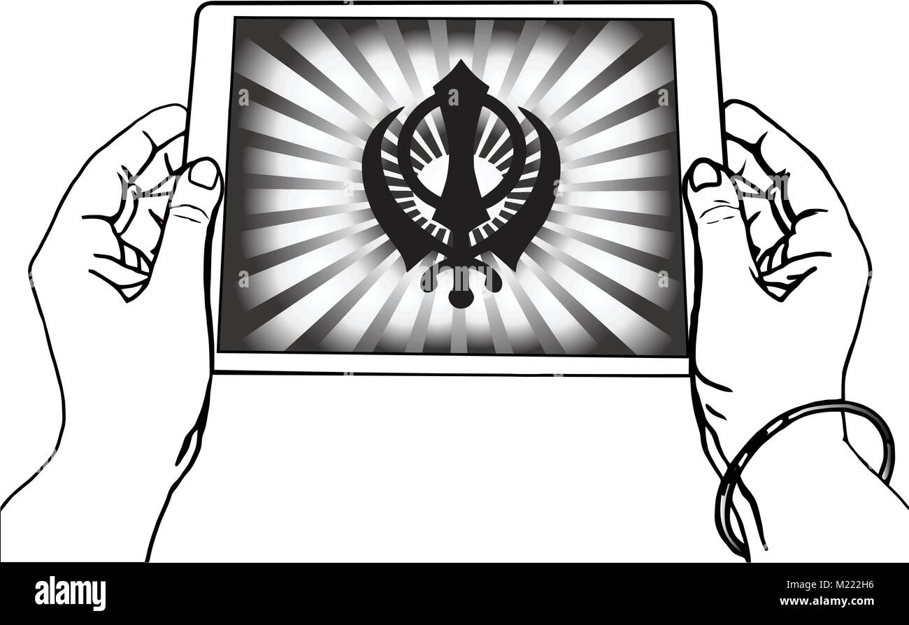 Hands holding a tablet on which the Khanda is the symbol of Sikhism. Black-and-white gradient rays, a transparent - Stock Vector