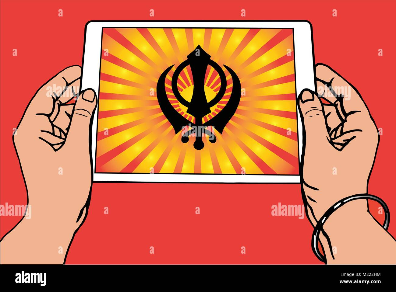 Hands holding a tablet on which the Khanda is the symbol of Sikhism. Red and gold gradient rays, red background, - Stock Vector