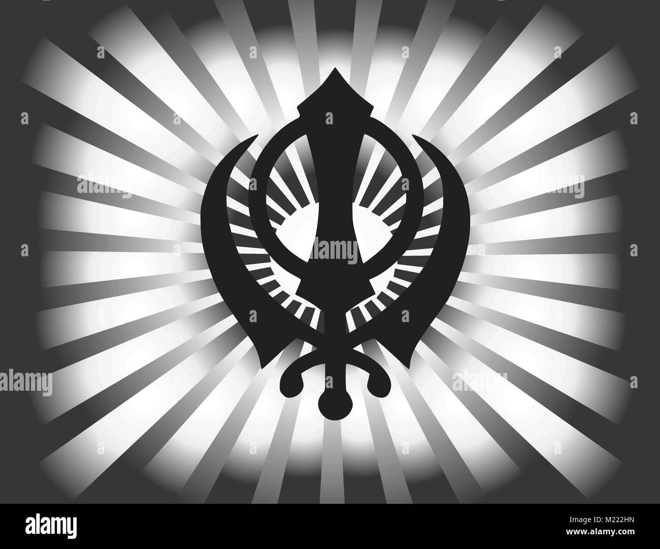 Khanda is the most significant symbol of Sikhism. Black-and-white gradient rays, transparent background, button. - Stock Vector