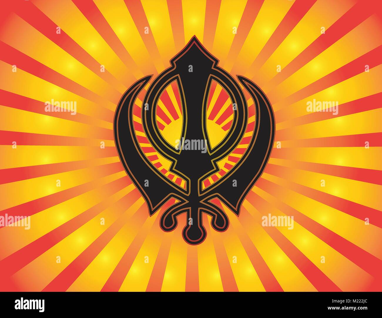 The main symbol of Sikhism – sign Khanda. Red and gold gradient rays, button. Vector - Stock Vector