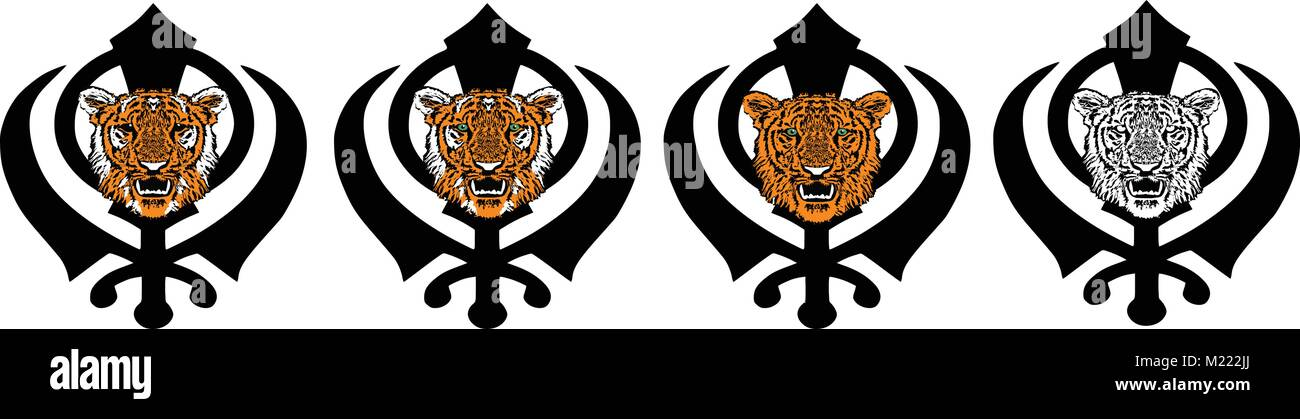 Khanda is the most significant symbol of Sikhism, adorned with a tiger - orange, tabby, black and white, transparent - Stock Vector