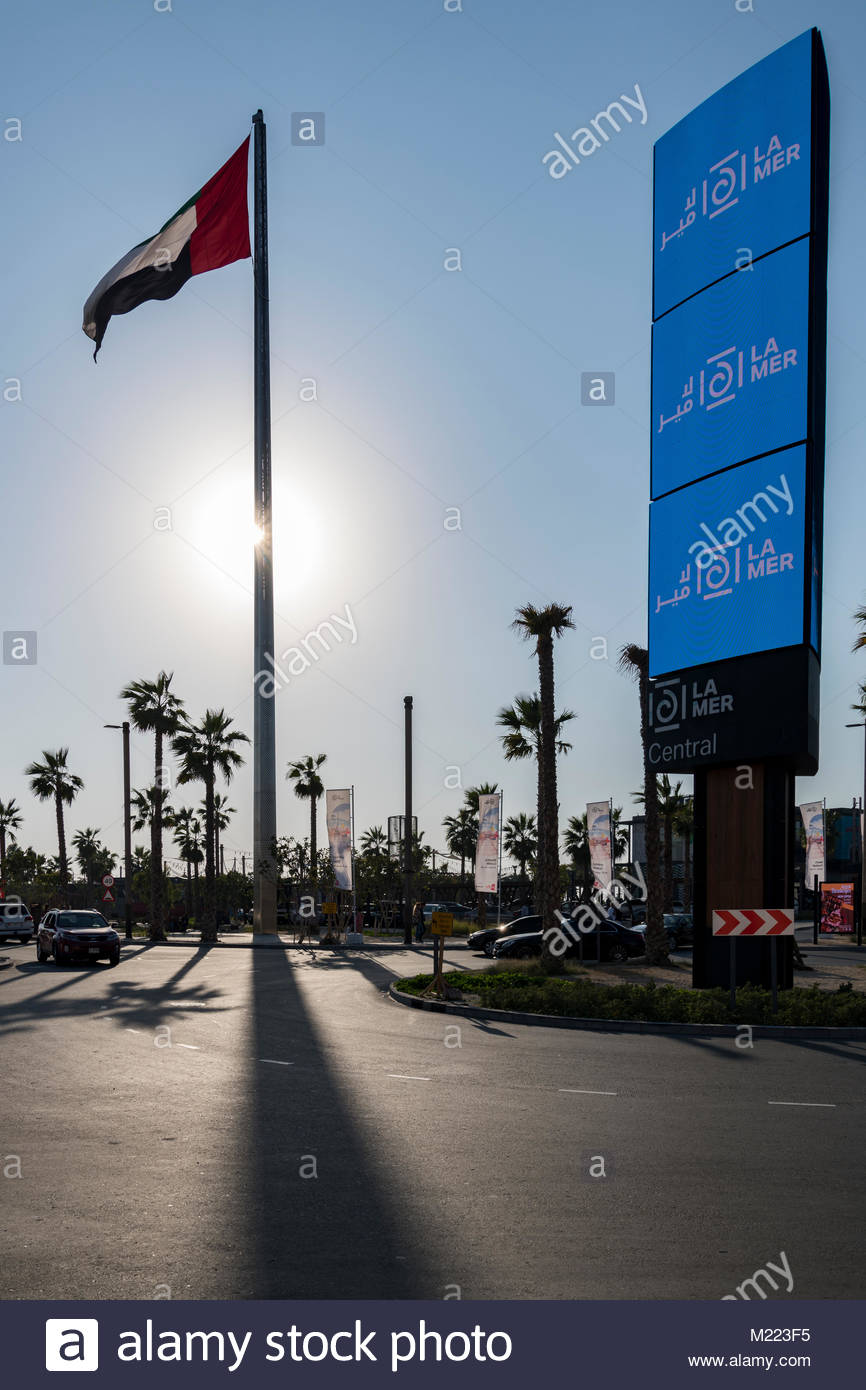 Flag Pole at La Mer, Dubai, UAE. The project opened in October 2017 is a beachfront development with retail and Stock Photo