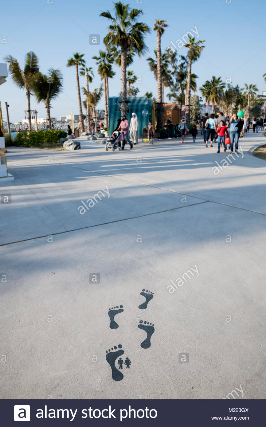 indication of direction to the toilets at 'La Mer', Dubai, UAE - Stock Image