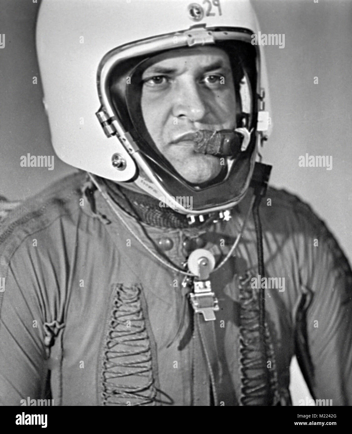 Gary Powers, pilot of U-2 spy plane. Francis Gary Powers wearing special pressure suit for stratospheric flying, - Stock Image