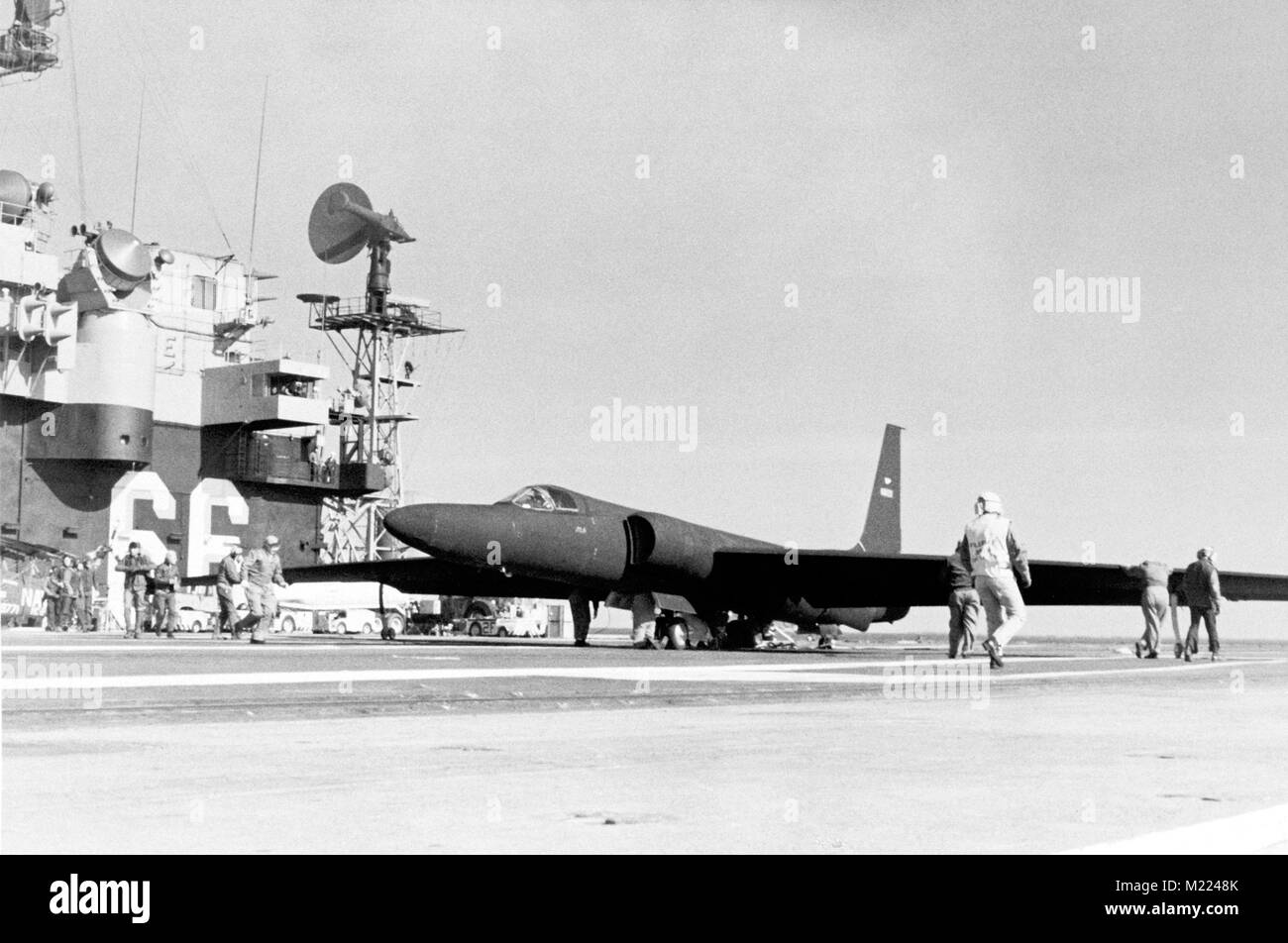 U-2 reconnaissance aircraft on the flight deck of the aircraft carrier USS AMERICA - Stock Image