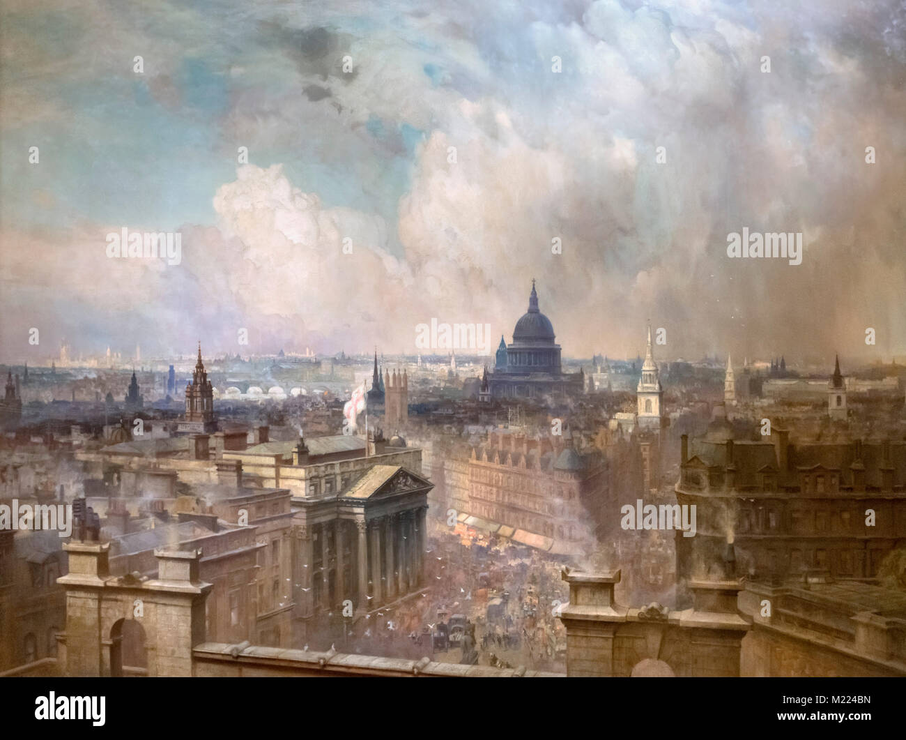 The Heart of the Empire by Niels Moeller Lund (1863-1916), oil on canvas, 1904. The painting shows the skyline of - Stock Image