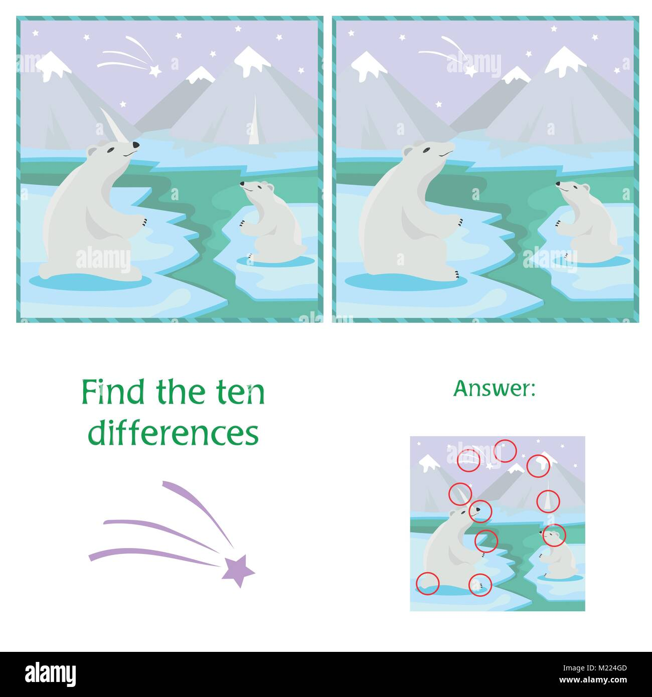 Educational game. Find differences. Mother polar bear with her little cute babie - Stock Vector