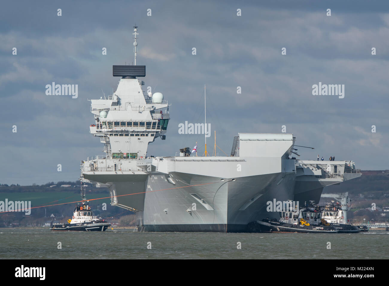 Royal Navy warship, the aircraft carrier HMS Queen Elizabeth, prepares to depart Portsmouth, UK on 2/2/18 (pm) for - Stock Image