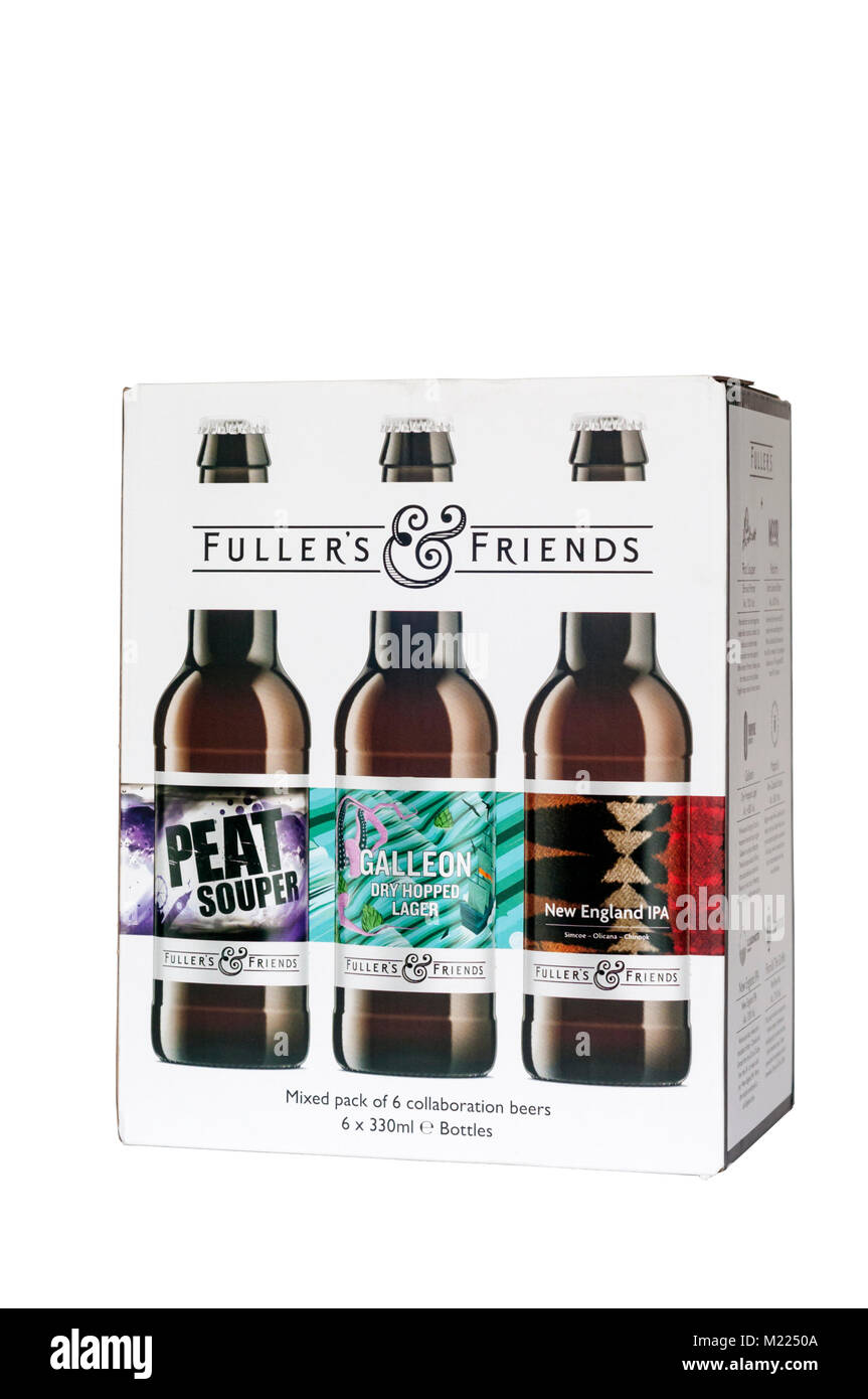 Fuller's & Friends.  A mixed pack of 6 collaboration beers.  SEE DESCRIPTION FOR DETAILS. - Stock Image