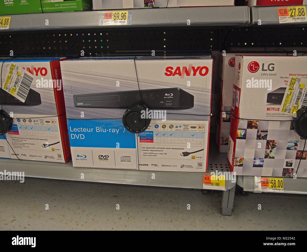 Blu-ray DVD players for sale in a retail store, California - Stock Image