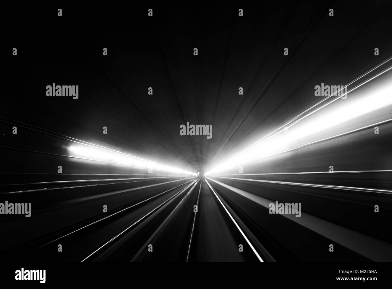 Movement in the Milan underground, as the metro train was moving between stations - Stock Image