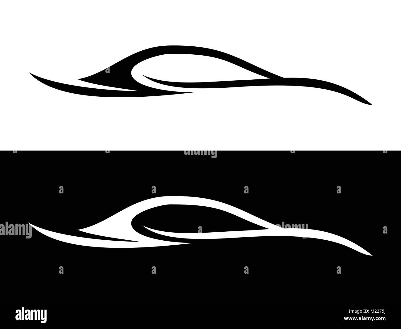 Abstract Car Shape Black and White Symbol Vector Graphic Logo Design - Stock Image