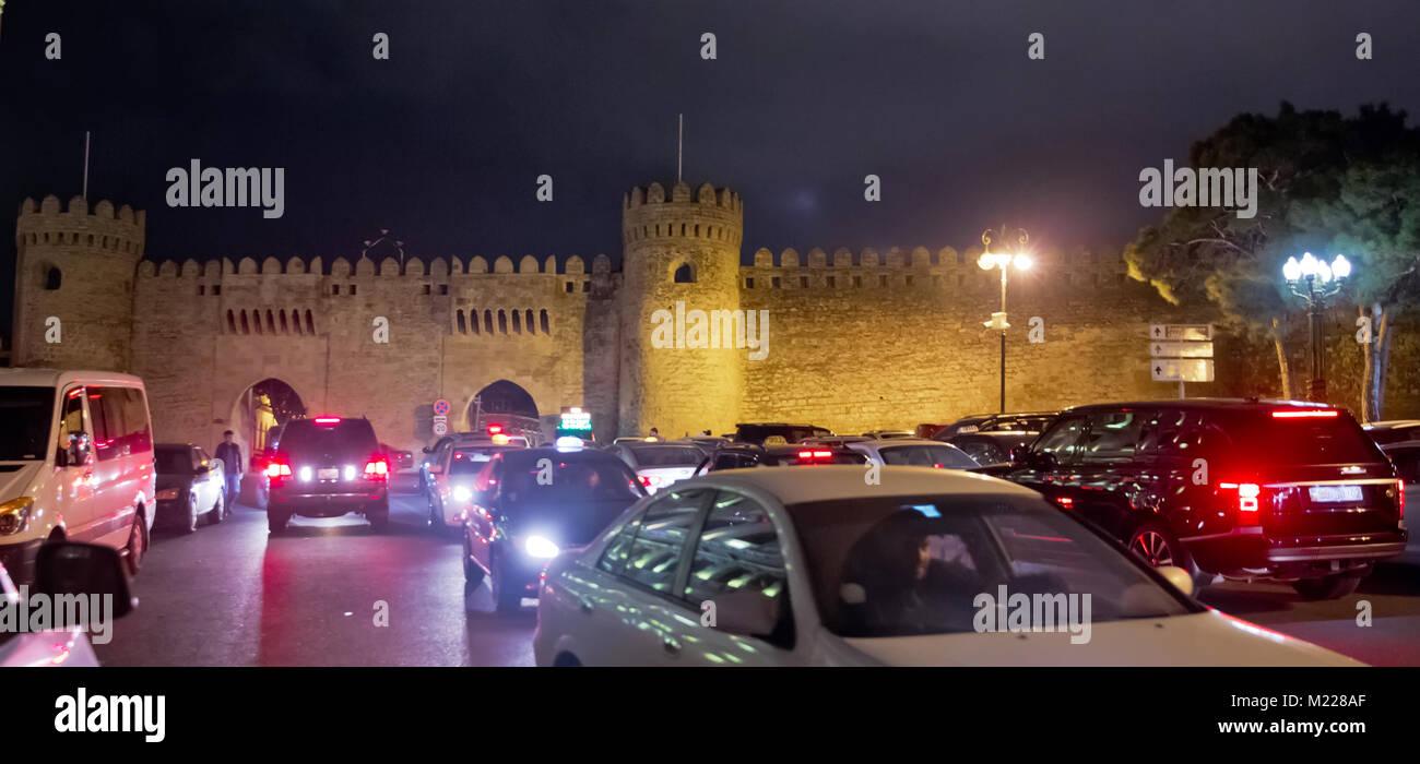 Tower of the ancient Baku city . Icheri Sheher in Baku. Azerbaijan . Gosha gala. - Stock Image