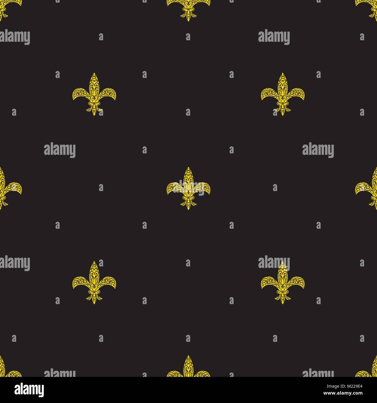 Fleur De Lys Black And Yellow Simple Seamless Pattern Royal Symbol
