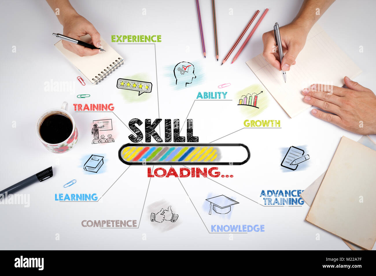 skill Concept. Chart with keywords and icons. The meeting at the white office table Stock Photo