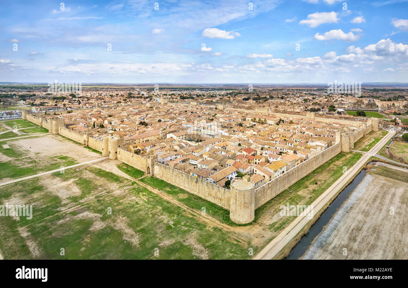 Aerial view of Aigues-Mortes medieval fortified town, Occitanie, France - Stock Image