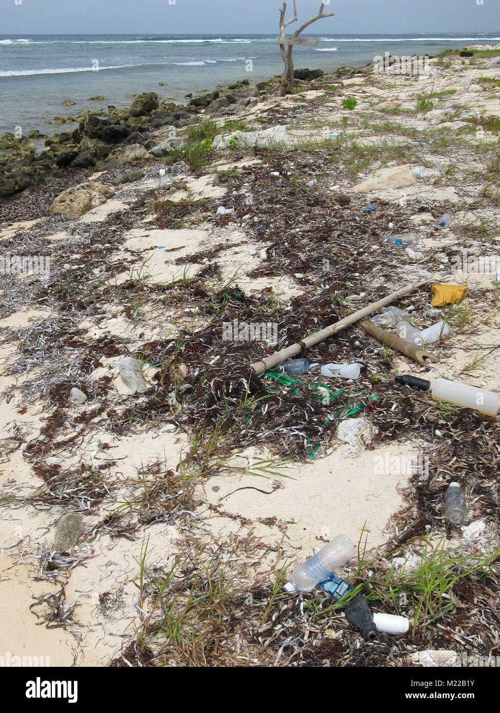 Washed up plastics litter the beaches on Grand Cayman, Cayman Islands, Caribbean. - Stock Image