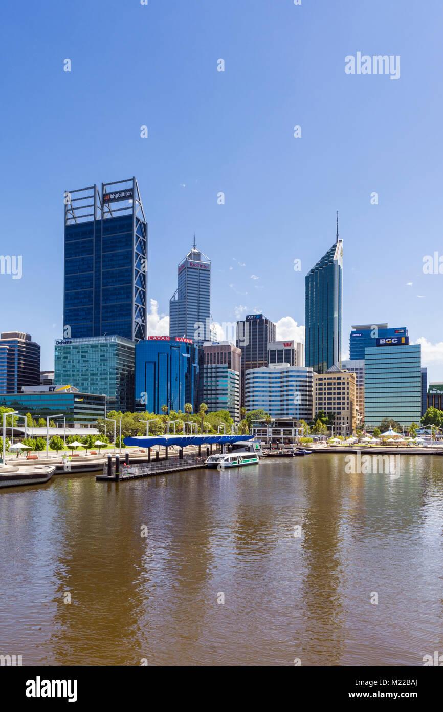 Elizabeth Quay and skyscrapers of Perth CBD, Perth, Western Australia, Australia - Stock Image