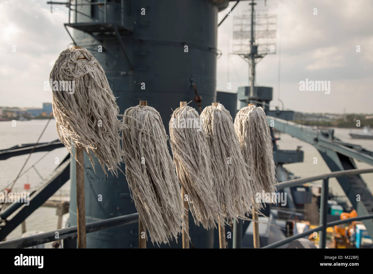 Houston, Texas - Mops on the Battleship Texas, which served in World War I and World War II. The ship is new a museum - Stock Image