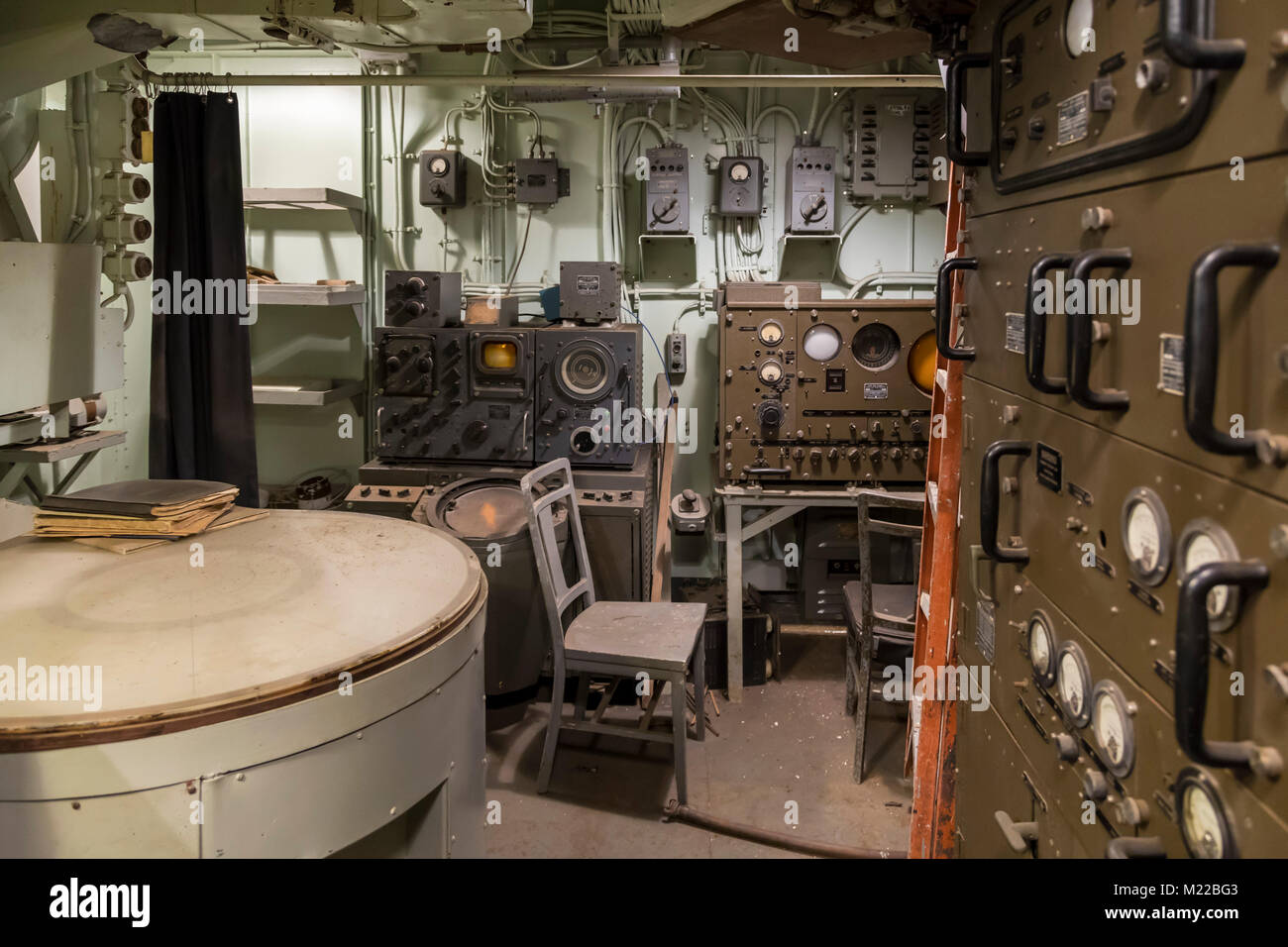 Houston, Texas - The auxiliary combat information center on the Battleship Texas, which served in World War I and - Stock Image