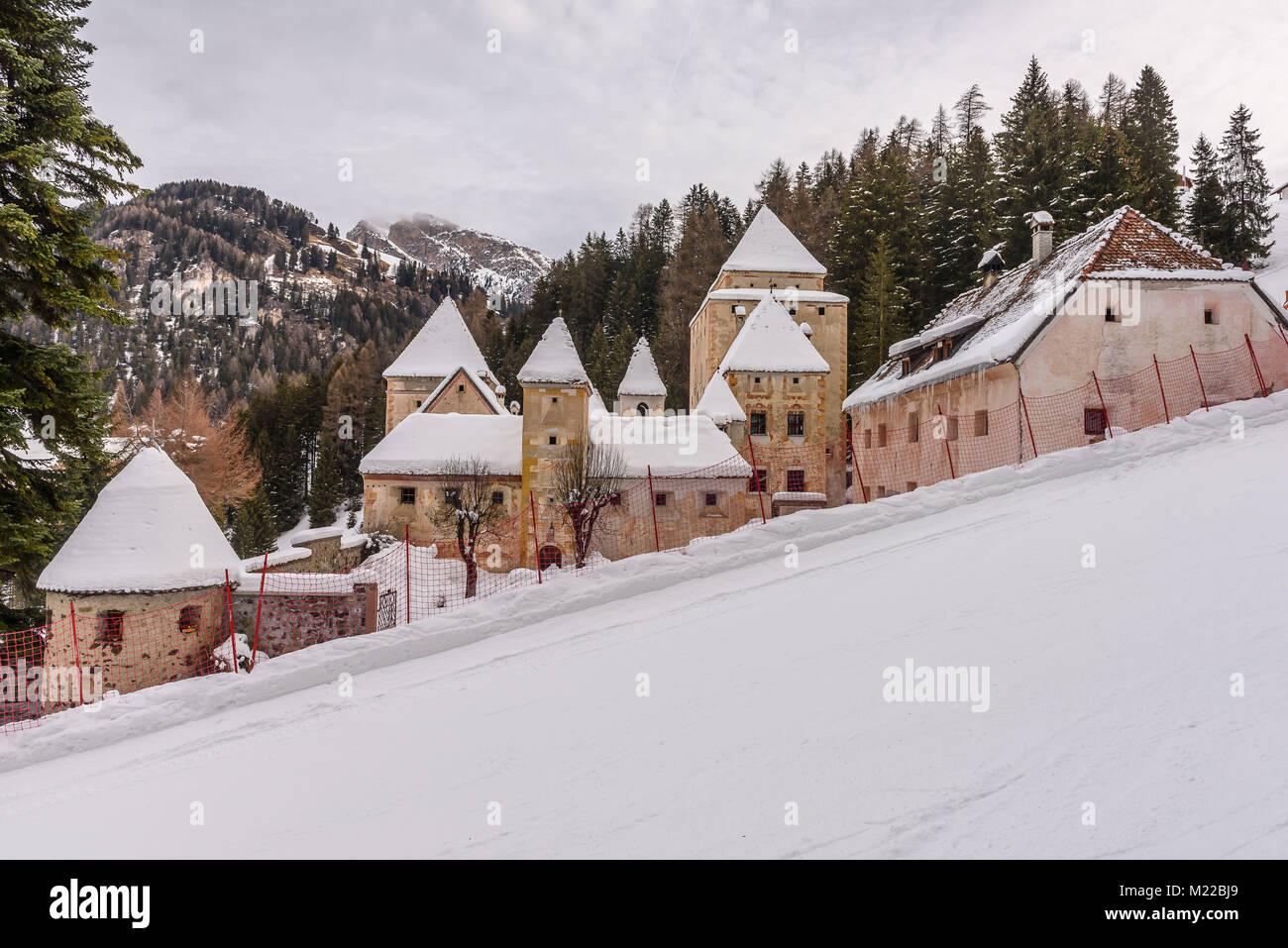 Winter view of Castel Gardena in Santa Cristina Valgardena, alpine village of the Dolomites Stock Photo