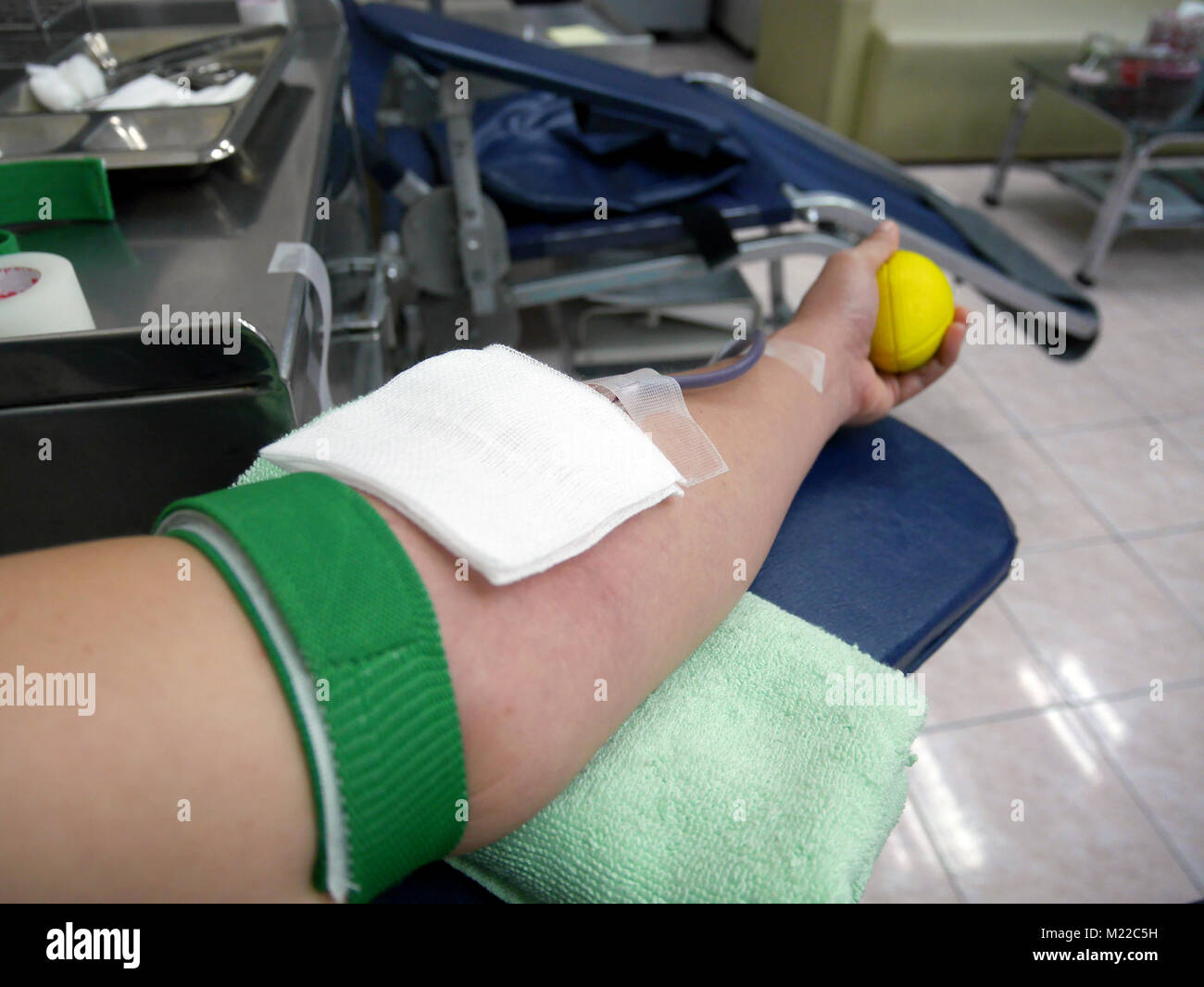 Arm of blood doner during blood donation with arm strap squeezing yellow ball to get easier and faster blood flow - Stock Image
