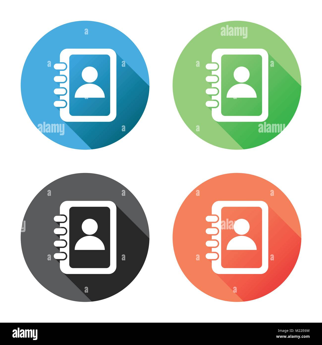 Address book icon with long shadow  Contact note flat vector